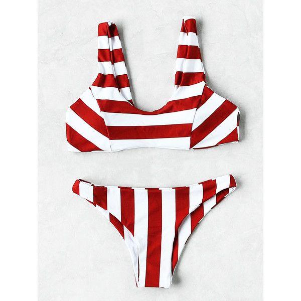d6a0269899 SheIn(sheinside) Two Tone Striped Print Bikini Set (395 UAH ...