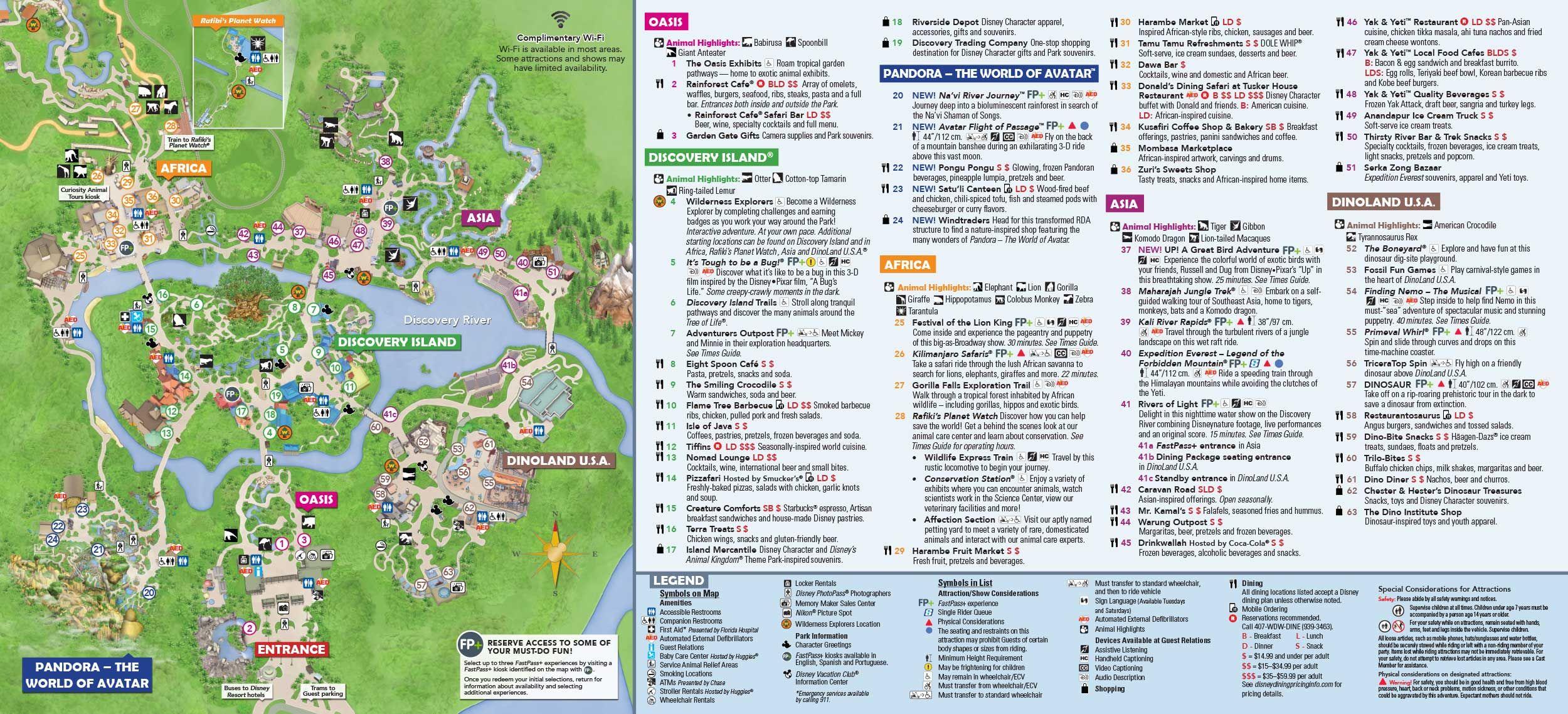 Disney's Animal Kingdom map Theme Park map | Dinsey Vaca in 2019