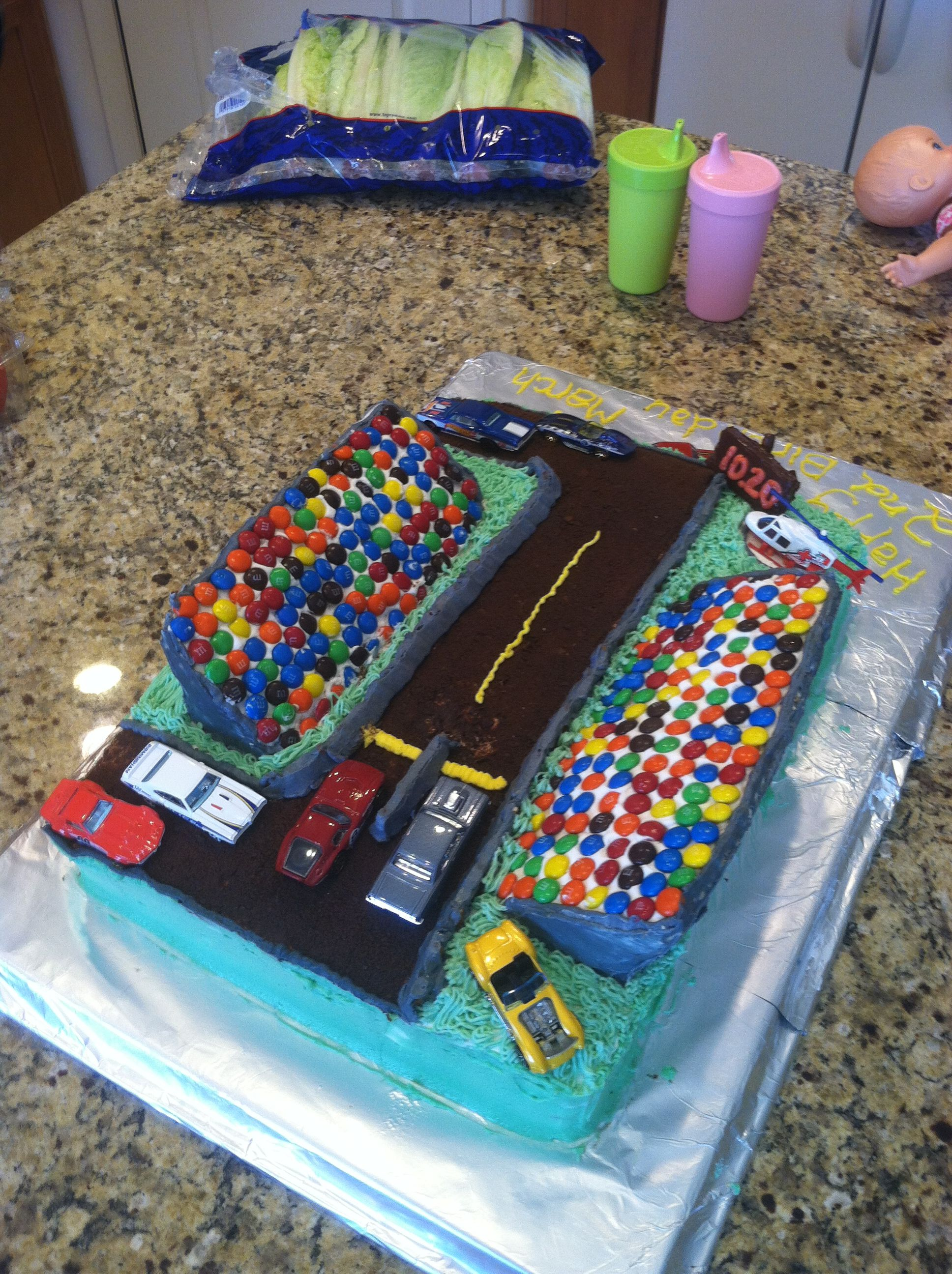 Drag Strip Birthday Cake 2nd With Matchbox Cars