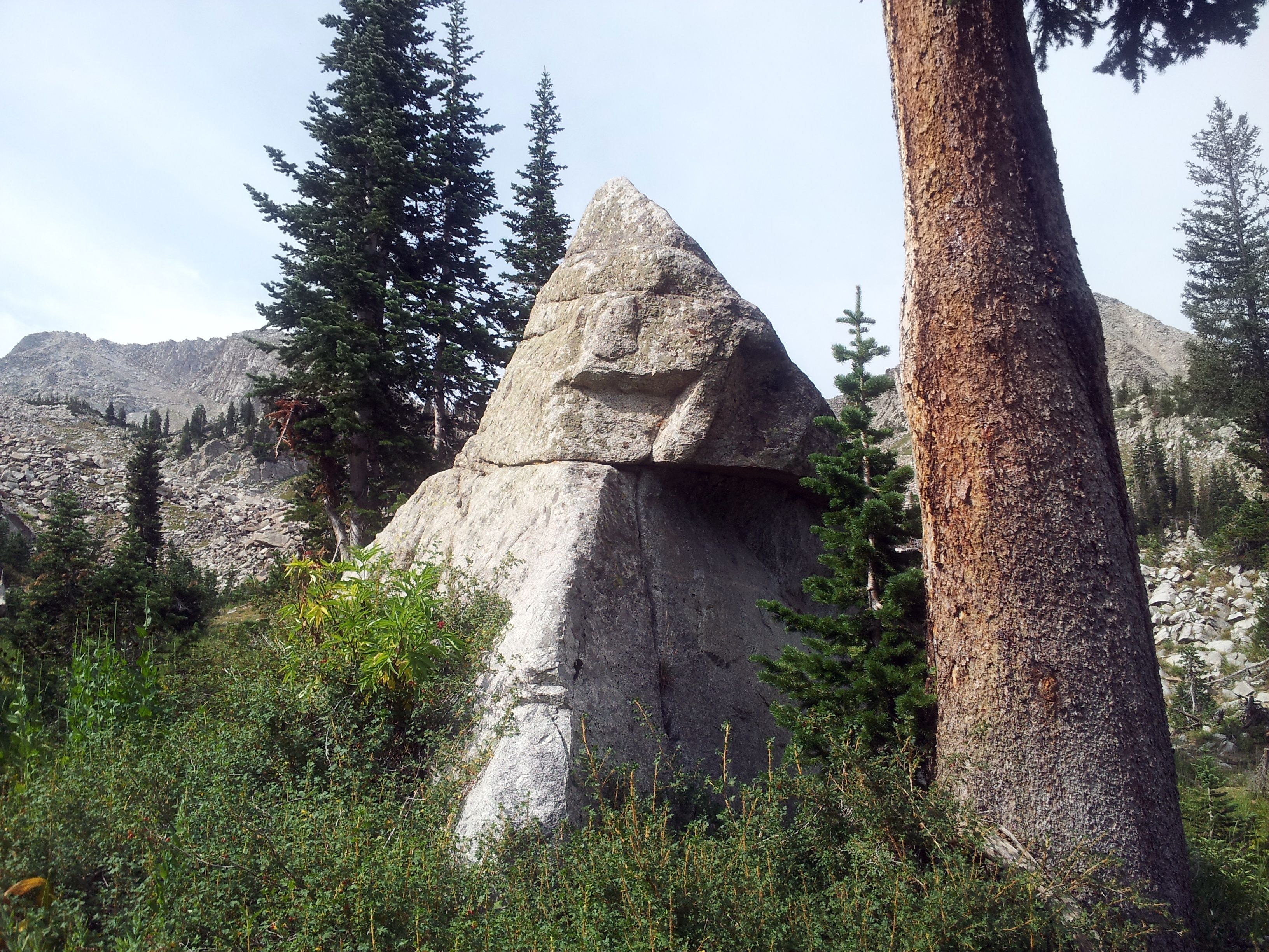 Smiling stone sentinel along White Pine Lake trail. Photo by Dru White.