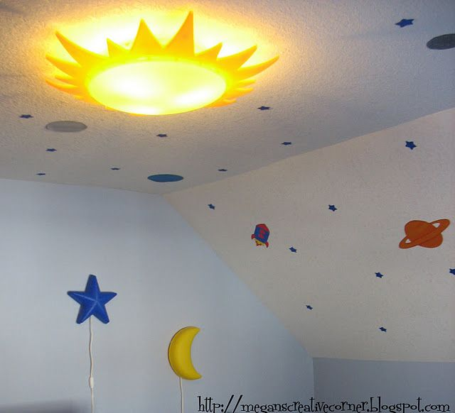 Sun Overhead Light Outer Space Bedroom Outer Space Room Boys Space Room