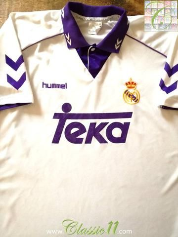 f9aa7580153 Official Hummel Real Madrid home football shirt from the 1993 1994 season.