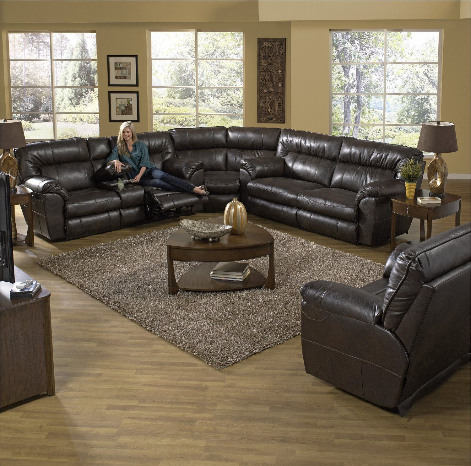 Ryan 3 Piece Reclining Sectional Living room ideas