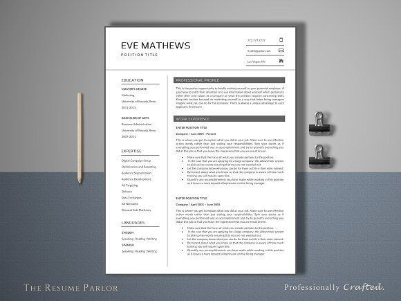 Resume Template 4 Page Universal by The Resume Parlor on - corporate resume template