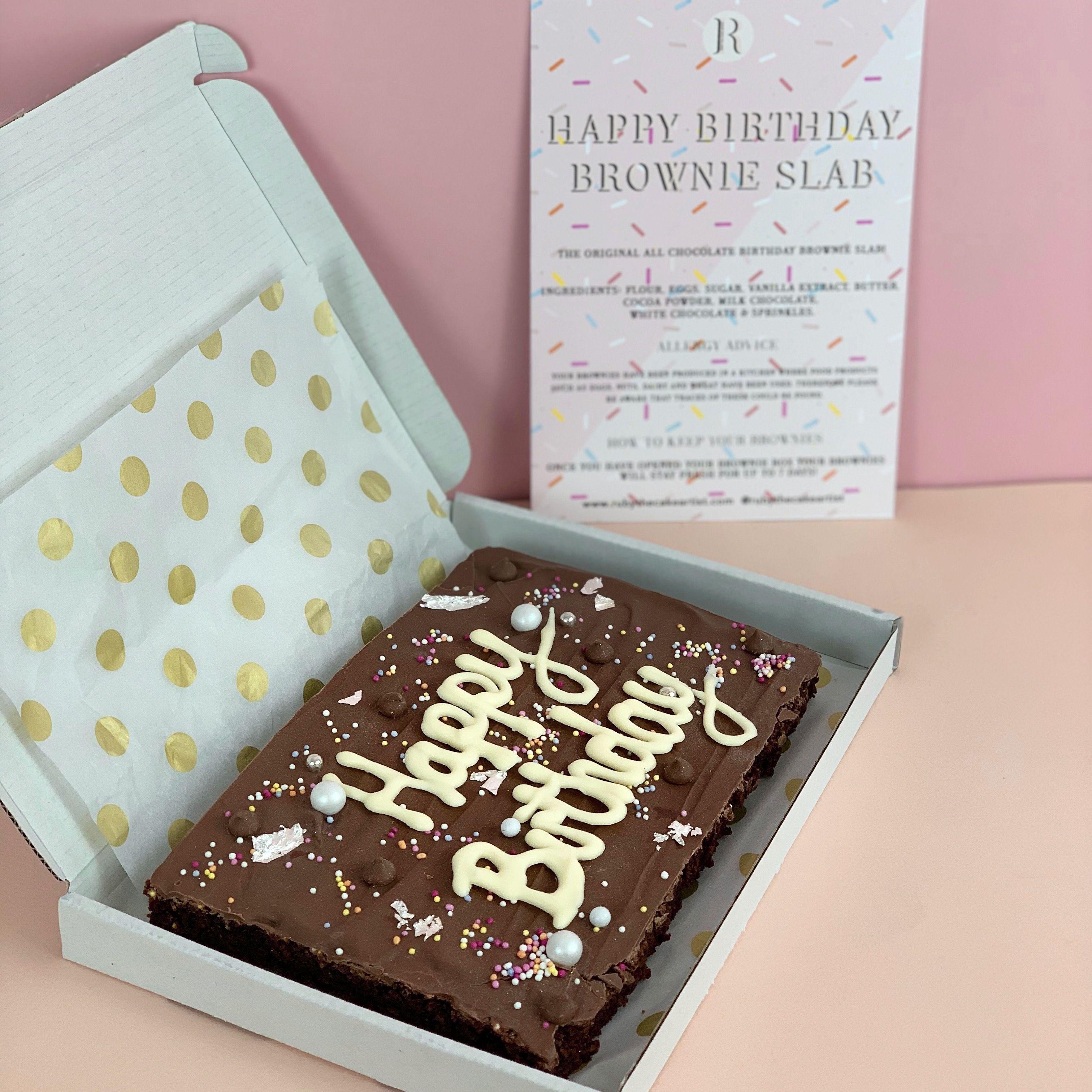 Happy Birthday Personalised letterbox Brownie Slab — Ruby The Cake Artist   Birthday brownies, Birthday cake brownies, Brownie packaging