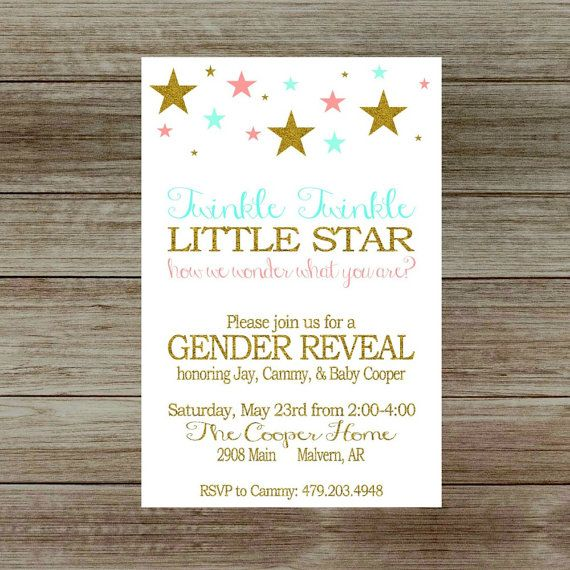 twinkle twinkle little star gender reveal party invitation, he or, Baby shower invitations