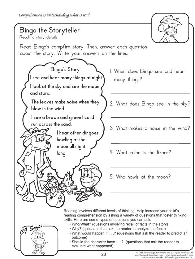 Worksheets Reading Comprehension Worksheet 2nd Grade bingo the storyteller reading worksheet for 2nd grade language grade