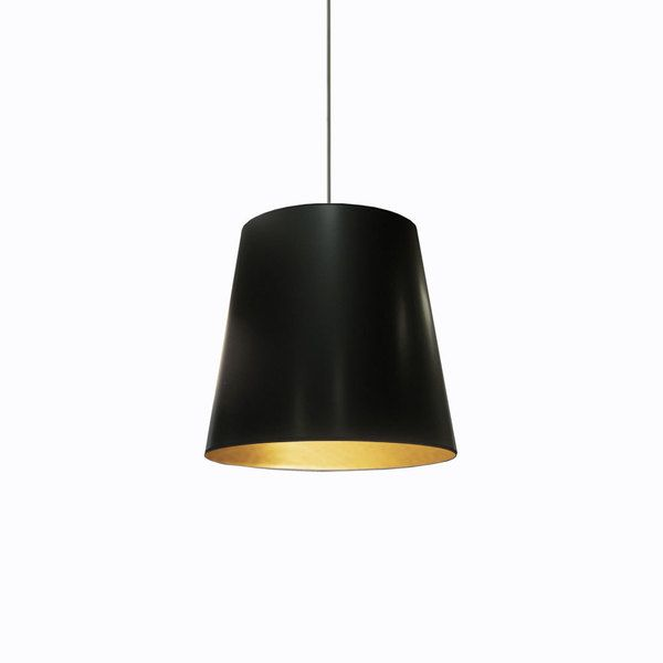 Dainolite 1 light oversized drum pendant with black on gold shade in medium