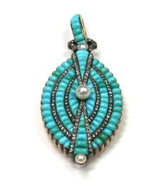 Vintage Turquoise, Pearl and Diamond pendant. From the victorian era, still stunning today. from www.elrltd.com