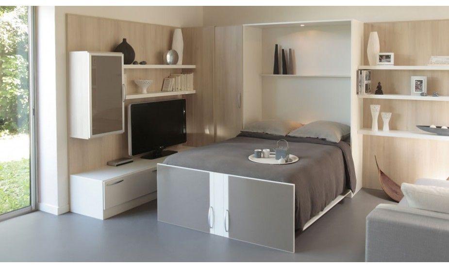 ce lit escamotable la stylique sobre et l gante assure un couchage quotidien de qualit. Black Bedroom Furniture Sets. Home Design Ideas