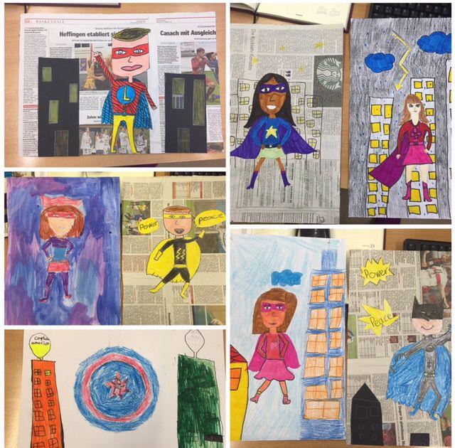 superhelden gemalt collage aus zeitung kunstunterricht malen und basteln in der grundschule. Black Bedroom Furniture Sets. Home Design Ideas
