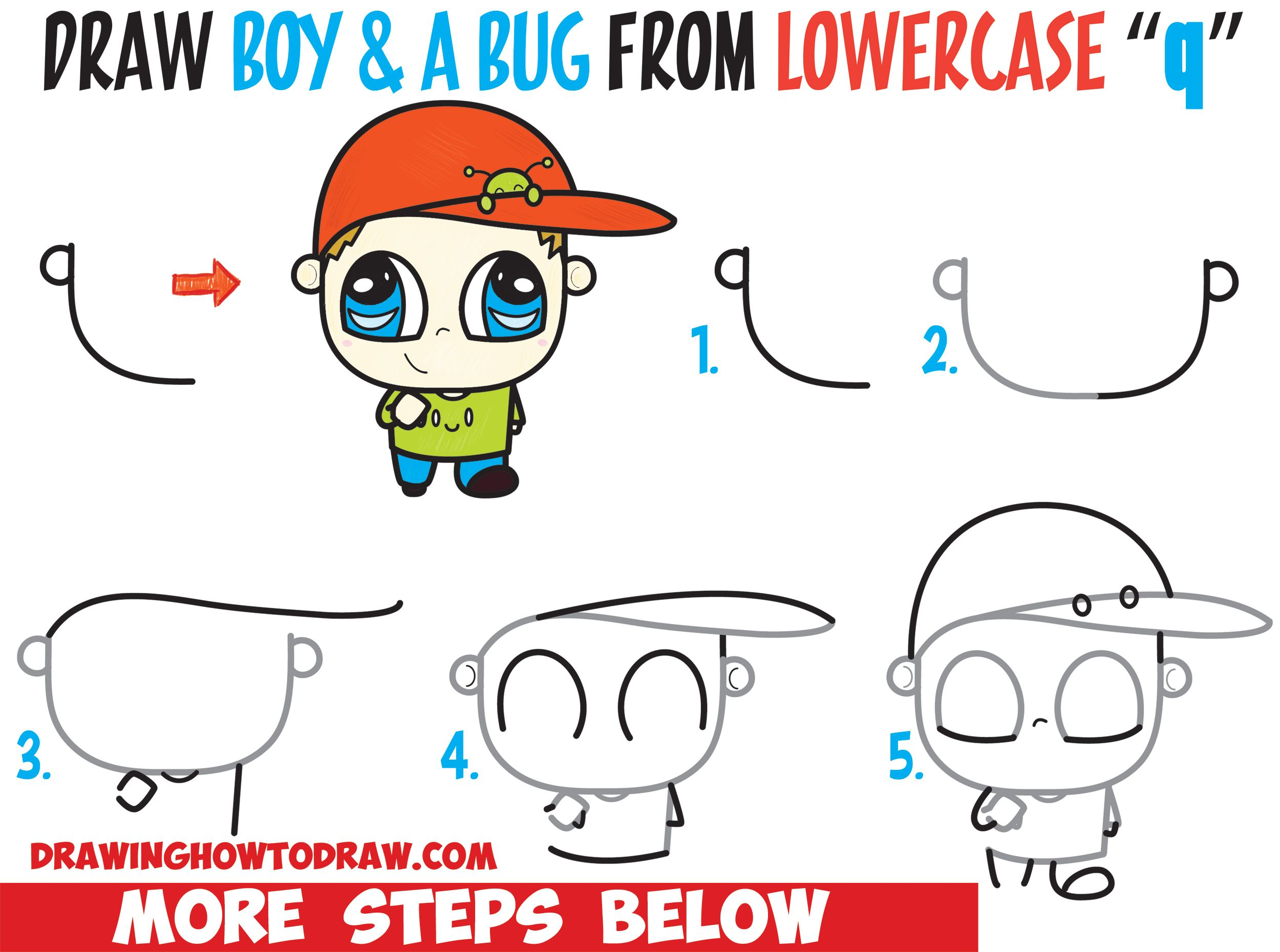 How To Draw A Chibi Boy With A Cute Bug On His Baseball Hat Easy Step By Step Drawing Tutorial For Kids Beginners How To Draw Step By Step Drawing