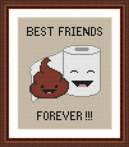 Poop Emoji Funny Cross Stitch PDF Pattern - Poo and Toilet Paper ...