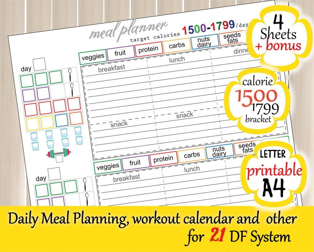 1500 Calorie Bracket Tracking Sheet Easy To Use 21 Day Fix Meal And Weight  Loss Planner