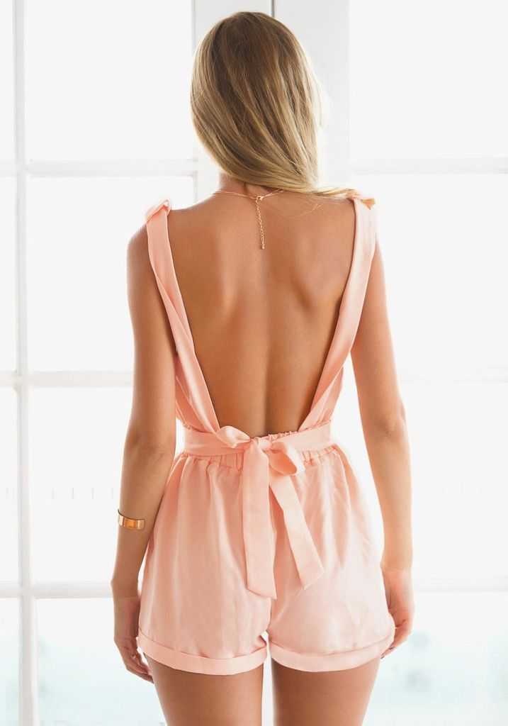 Going out on a weekend with a hottie? Wear this baby pink bow cutout back romper. This stylish pink romper is only available at Lookbook Store. #lookbookstore #FashionClothing