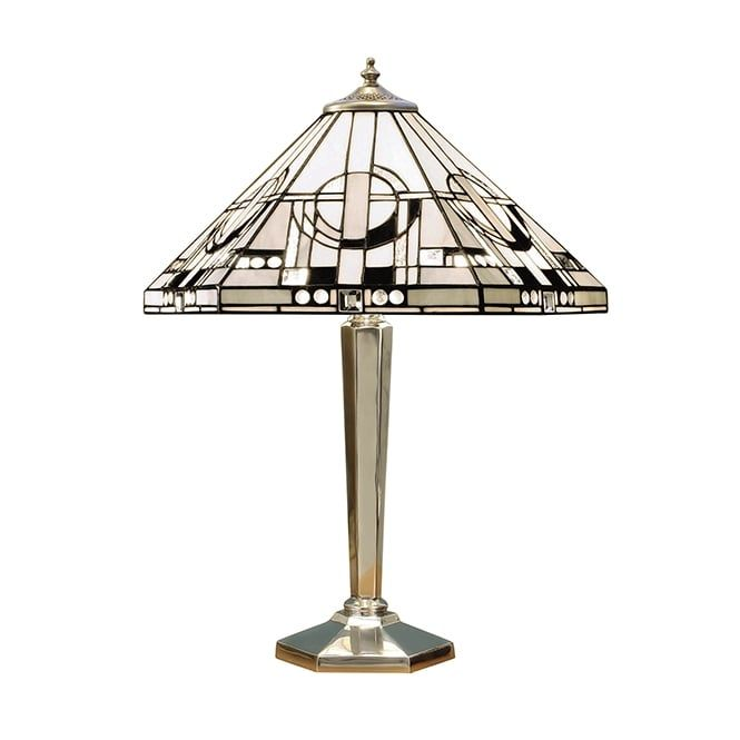 A tiffany table lamp with an art deco design shade made with grey a tiffany table lamp with an art deco design shade made with grey white and black glass complete with a polished aluminium base the lamp is individually greentooth Image collections