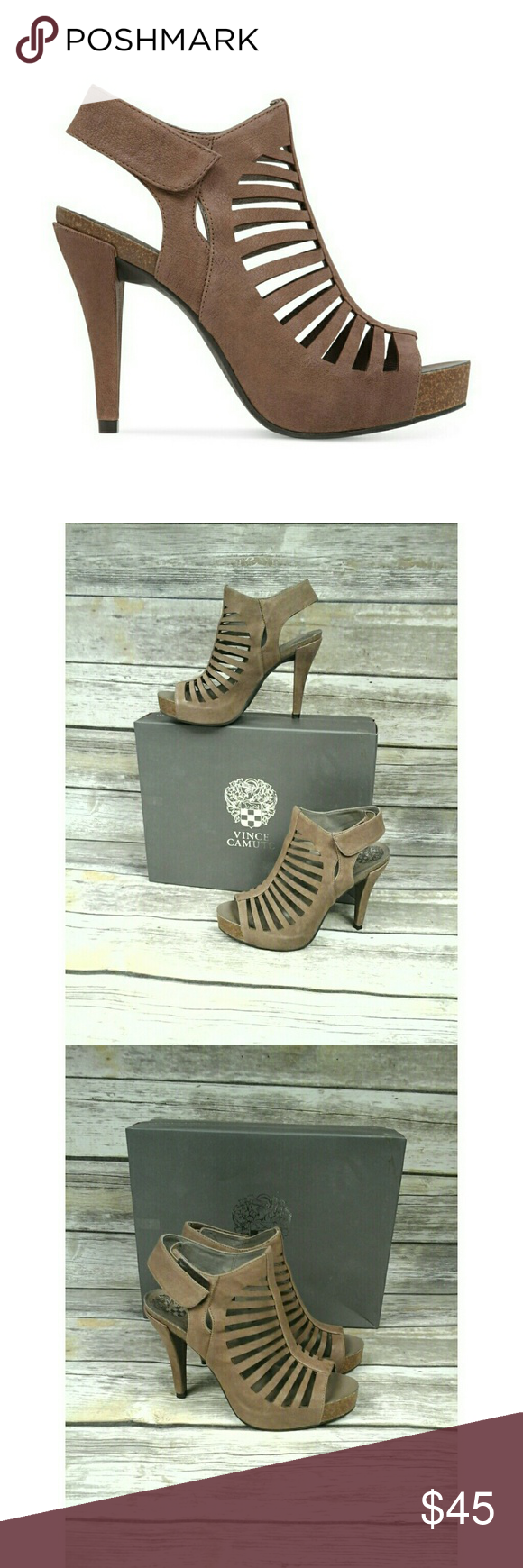 """Vince Camuto Poseidon Platform Dress Sandals Slender cutouts add refined gladiator style to a leather caged bootie boosted by an earthy sole. 4"""" heel; 1"""" platform. Adjustable strap with hook-and-loop closure. Leather upper and lining/synthetic sole. By Vince Camuto; imported. Women's Shoes. Vince Camuto Shoes Heels"""