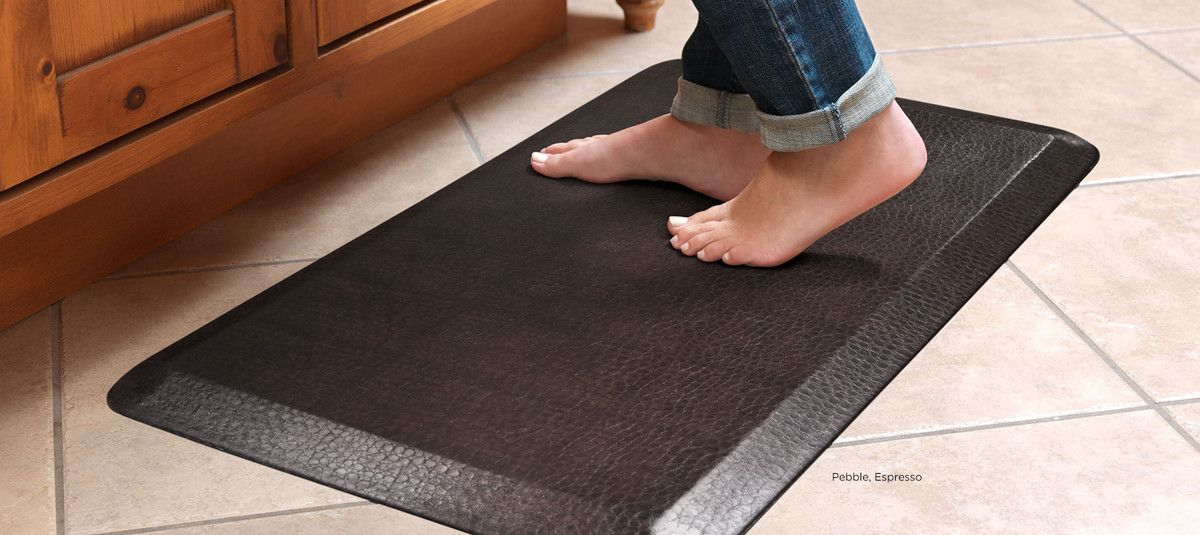 Designer comfort mat leather grain kitchen mat cool