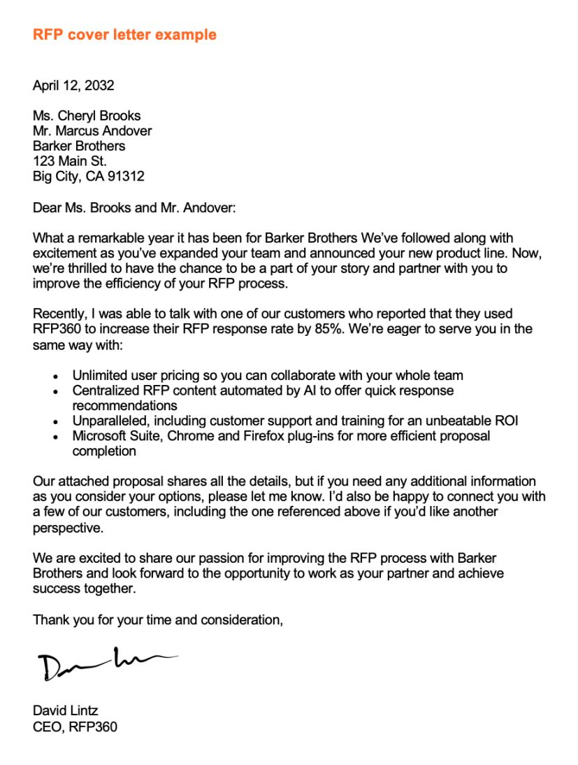 Rfp Proposal Response Template In 2021 Cover Letter Cover Letter Example Cover Letter Examples