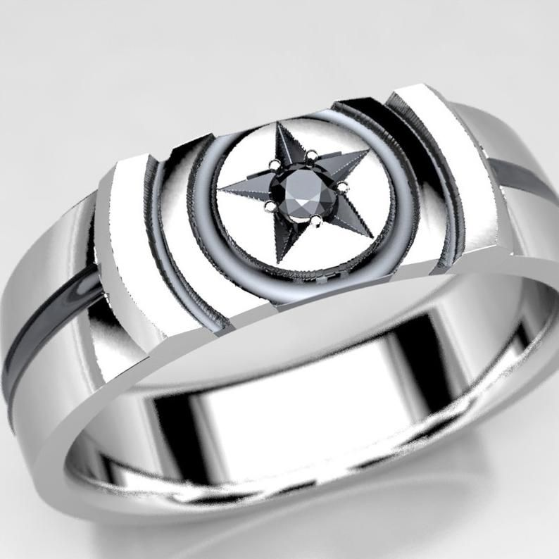 Captain America Inspired Wedding Ring With 2mm Black Diamond Etsy In 2020 Black Diamond Wedding Bands Gold Bar Studs Diamond Wedding Bands