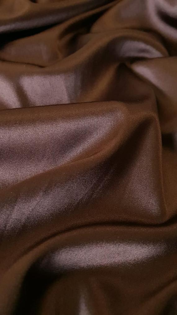 Chocolate brown satin fabric, Satin fabric with el