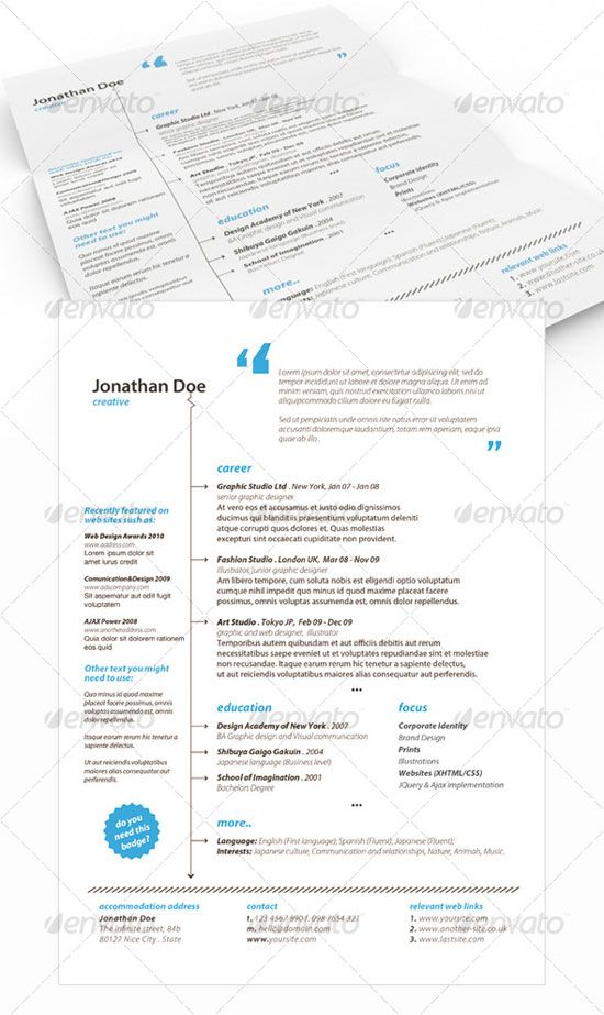Get your Dream Job - 15 Clean \ Elegant Resume Templates - elegant resume templates