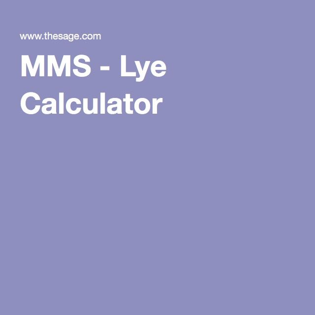 MMS - Lye Calculator