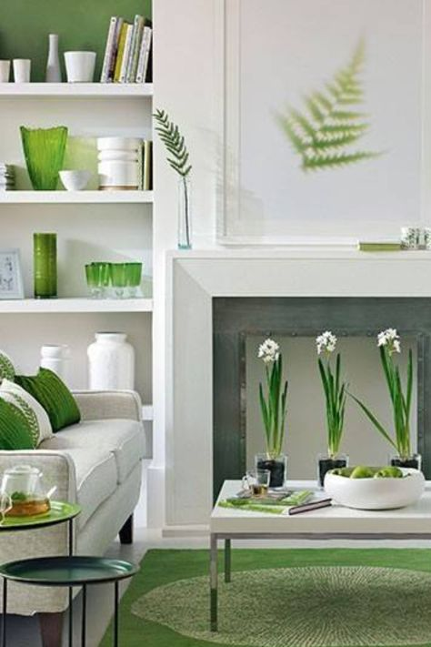 Green And White Are Clean Modern And Interestingly Earthy Green Living Room Decor Living Room Grey Living Room Green