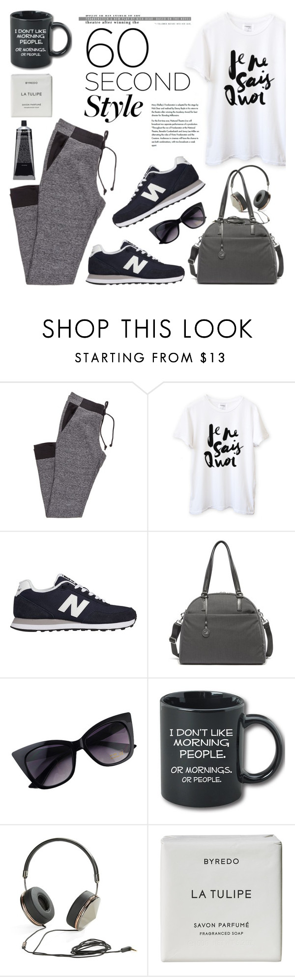 """""""60 Second Style: Yoga Pants"""" by helenevlacho ❤ liked on Polyvore featuring New Balance, Frends, Byredo, contestentry, yogapants and 60secondstyle"""