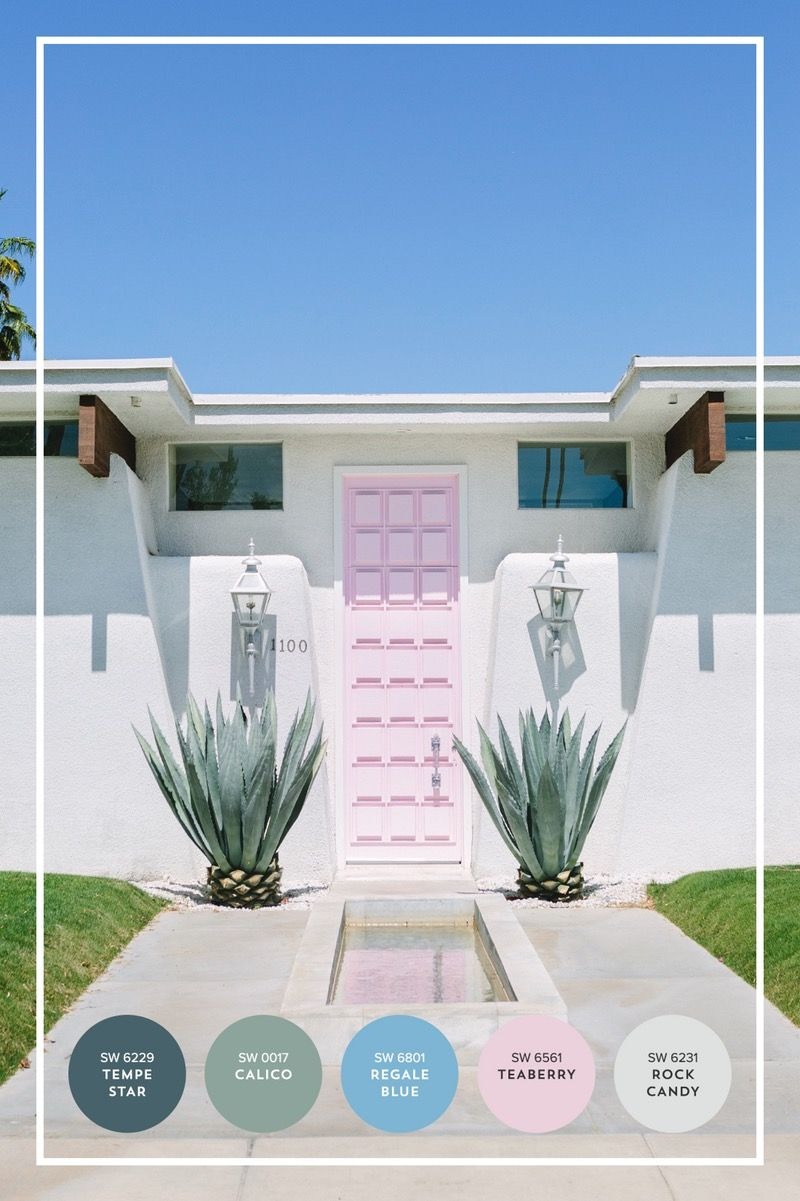 Palm springs inspired color palatte with the pink door - Palm springs interior design style ...