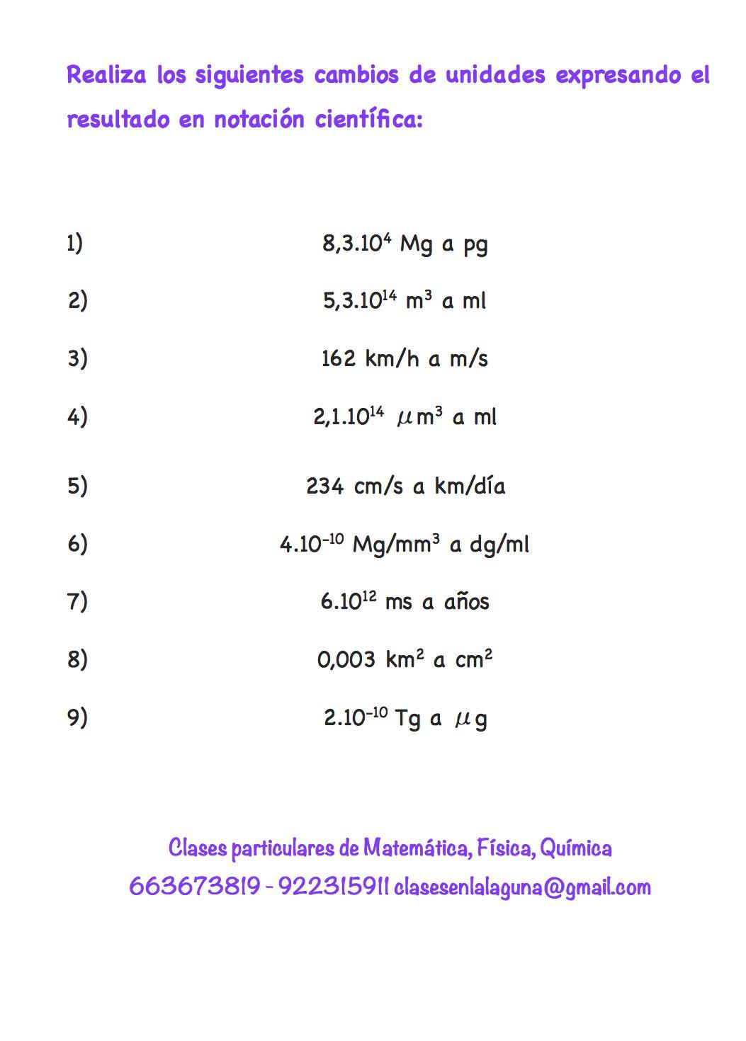 Ejercicios De Factores De Conversión Nivel 3ºeso Notacion Cientifica Ejercicios Conversiones