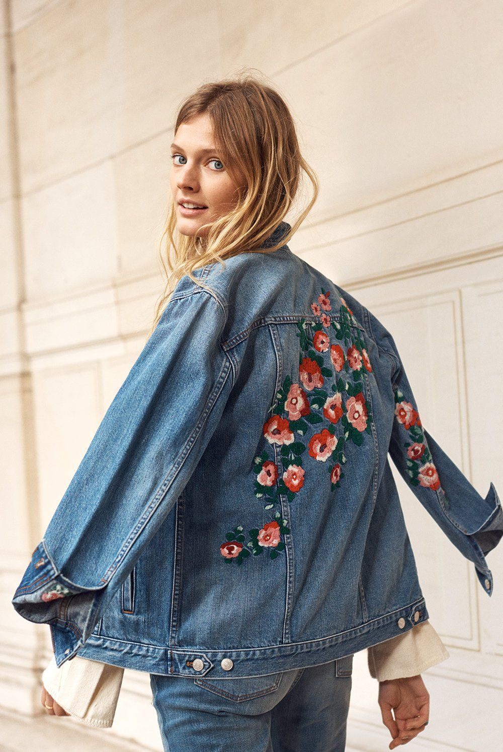9fe87cb13aa madewell oversized jean jacket  embroidered edition worn with the  tie-sleeve pullover sweater.