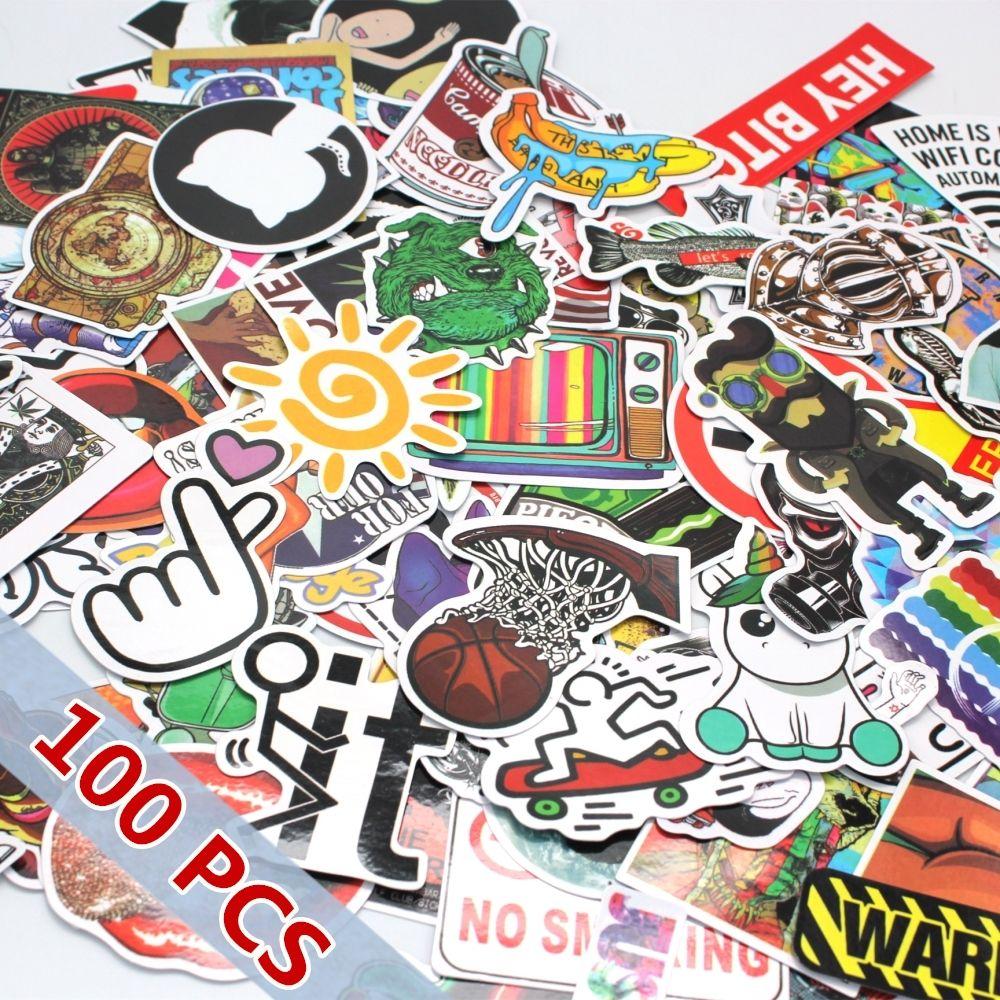 100pcs Mixed Stickers Snowboard Doodle Laptop Sticker Decal Toys Bike Car Motorcycle Phone Cartoon Cool Laptop Stickers Skateboard Stickers Print Stickers [ 1000 x 1000 Pixel ]