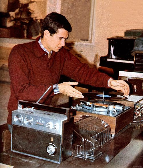 Anthony Perkins putting a record on the turntables. #celebrityaudio #records #vinyl http://www.pinterest.com/TheHitman14/celebrity-audio-%2B/