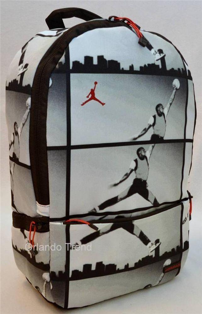 476fb5034ce898 Nike Air Jordan Backpack Haj Graphic Print Black Gray Bag Laptop Tablet  Mens  Nike  Backpack  Jordan  OrlandoTrend