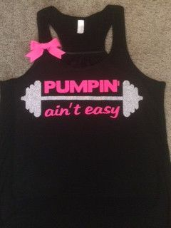 Pumpin' ain't easy  Black  Racerback Tank  Neon Tank  Fitness Tank  Gym Tank  Workout Tank  Workout Clothes is part of Workout Clothes Black - Pumpin' ain't easy  Black  Racerback Tank  Neon Tank  Fitness Tank  Gym Tank  Workout Tank  Workout Clothes Black Tank with Silver  graphic and Neon Pink Lettering and apink bow ) Polyester retains shape and elasticity; Cotton lends both comfort and durability; addition of Rayon makes for a unique texture and drapes against the body for a slimming look  Form Fitting Racerback