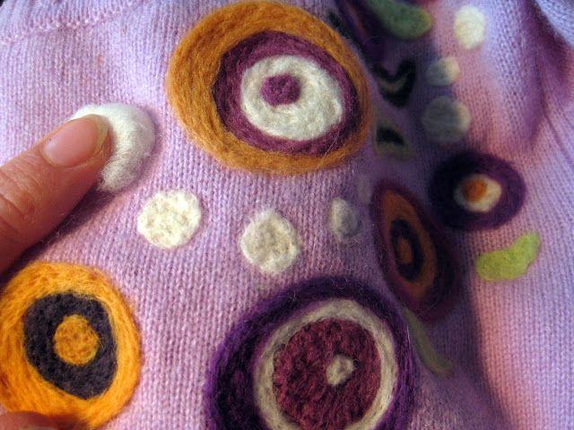 DIY needle felting--I've never thought about needle felting onto a sweater!