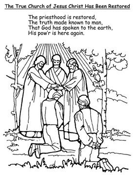 restoration of the church coloring page primary 3 lesson 6