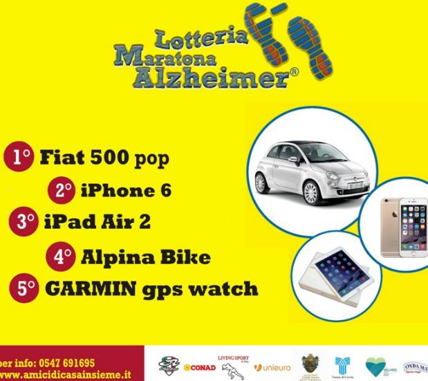 Lotteria Maratona Alzheimer 2015, in palio un Fiat 500