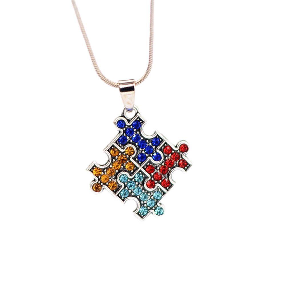 Autism Awareness 4 Color Jigsaw Puzzle Piece Necklace