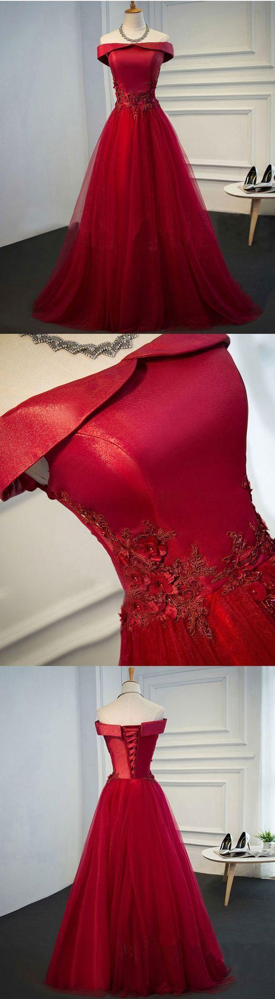 Burgundy lace tulle long prom dress off shoulder evening dress