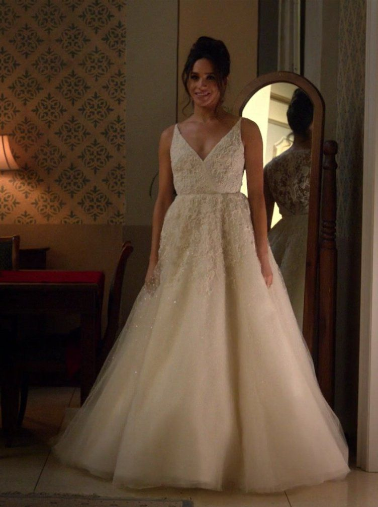 Meghan Markle S Onscreen Wedding Dress Will Get You Excited For Her Own Gown In Real Life Meghan Markle Wedding Dress Wedding Dress Suit Megan Markle Wedding Dress