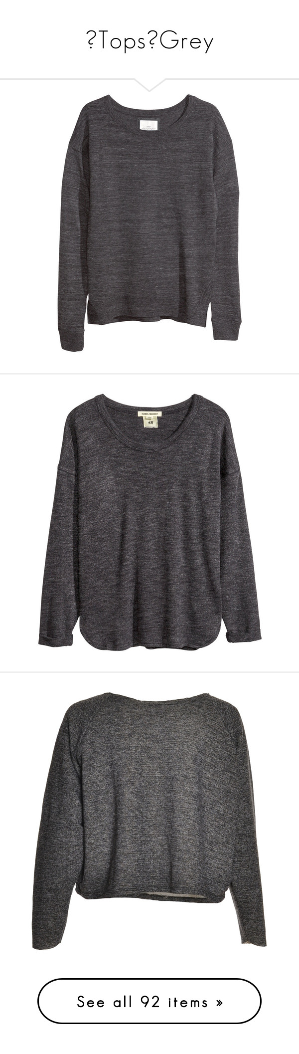 """【Tops】Grey"" by akihabara ❤ liked on Polyvore featuring grey, top, tops, sweaters, h&m, haut, dark grey, h&m sweater, slit top and jumpers sweaters"