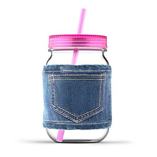 Asobu Mason Canning Jar in Jeans with Lid and Straw Plastic Pink >>> Check this awesome image @