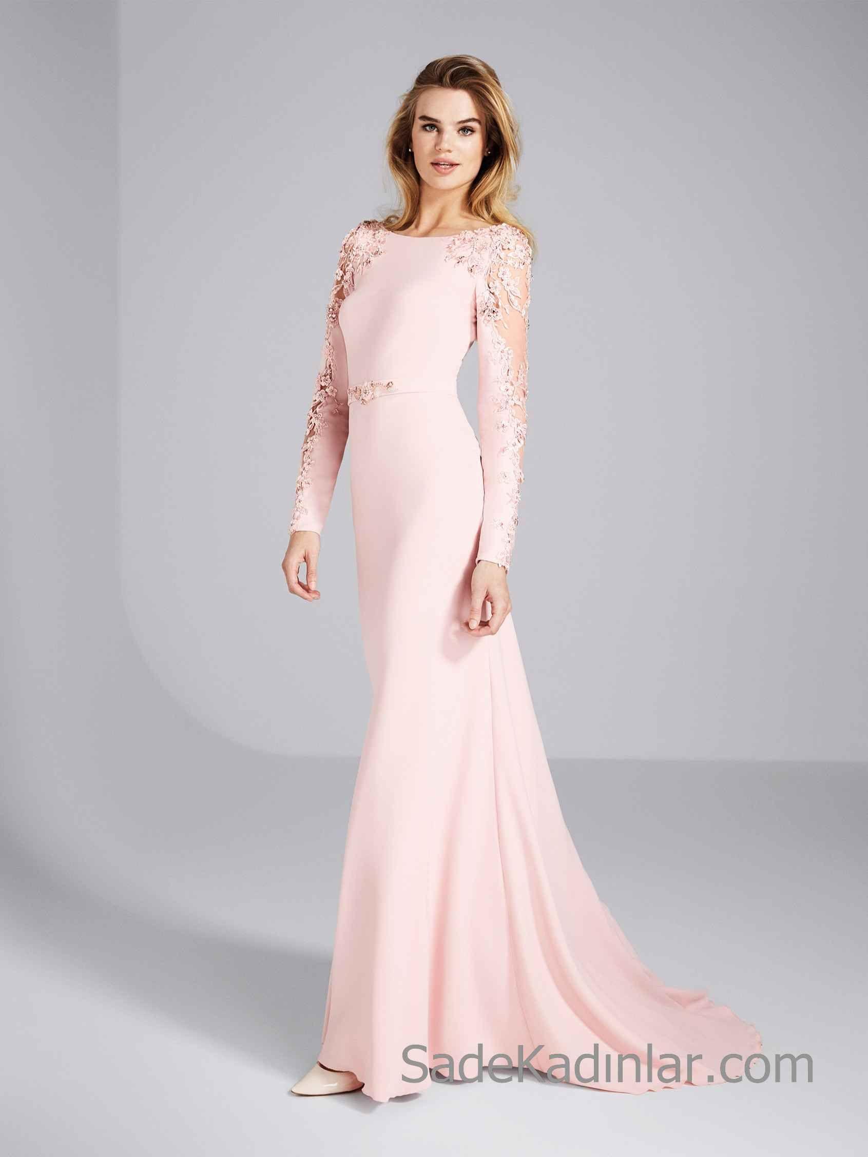 Pronovias 2020 Abiye Elbise Modelleri Pembe Uzun Balik Kayik Yaka Uzun Kollu Boncuk Islemeli Balo Elbiseleri Aksamustu Giysileri The Dress