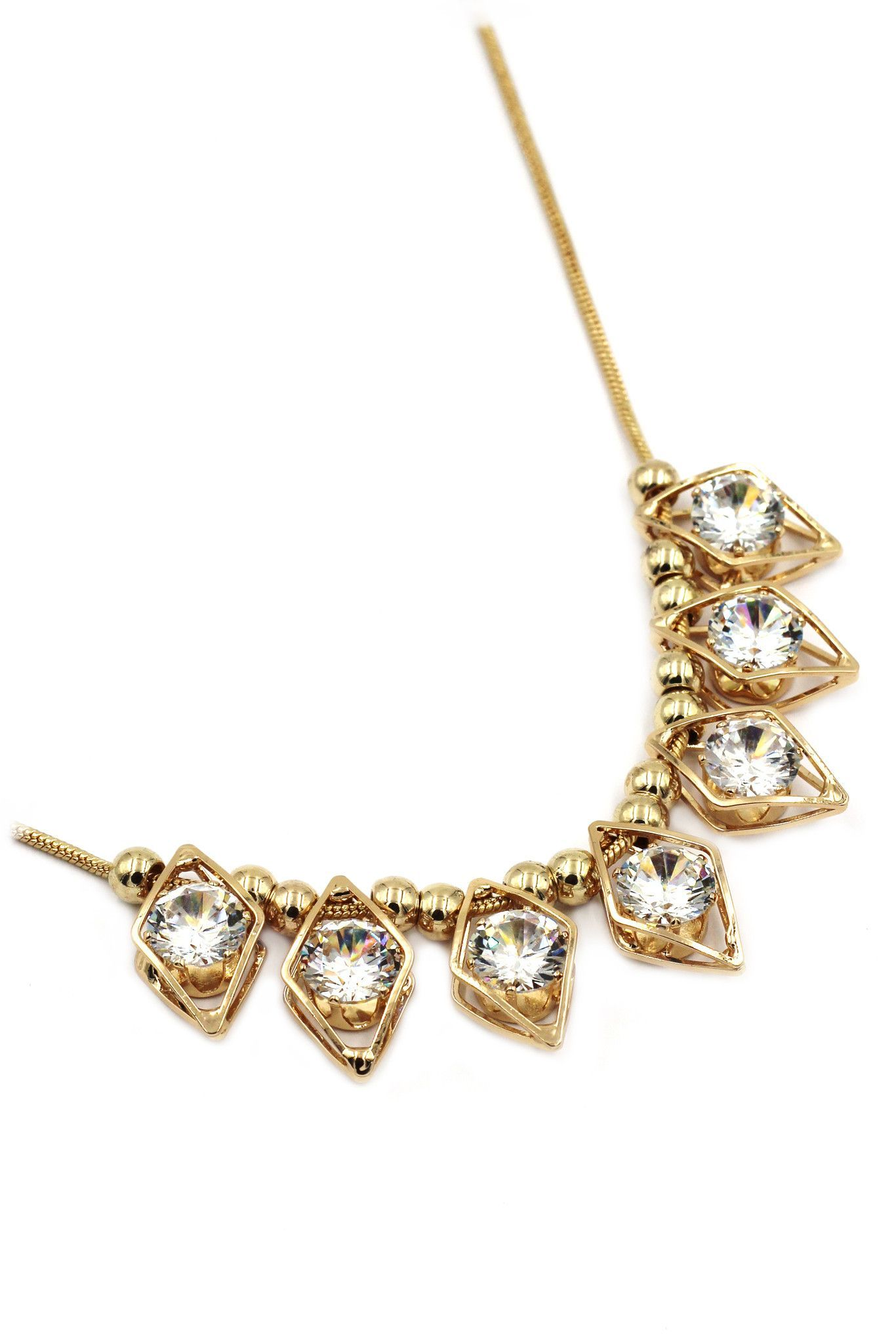 noble rhombus crystal necklace