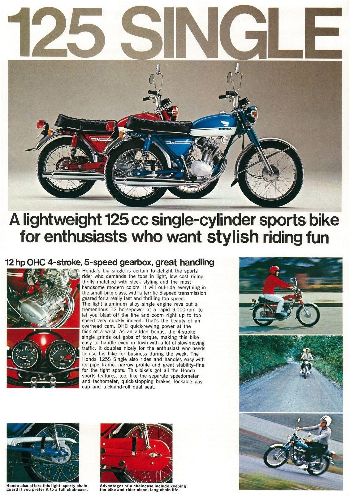 Details About Honda Brochure Cb125 Cb125s 1972 1973 Sales