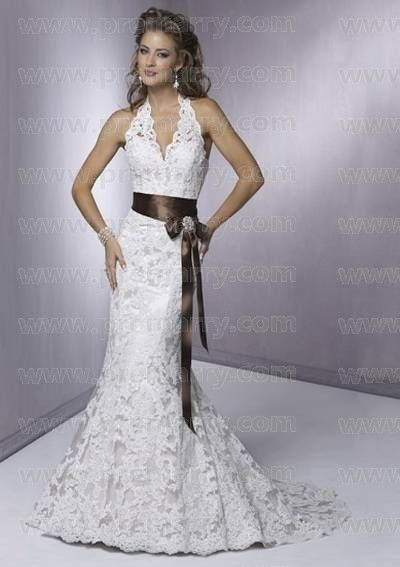Mermaid Court Train Halter Lace Wedding Dress with Sash Bow ...