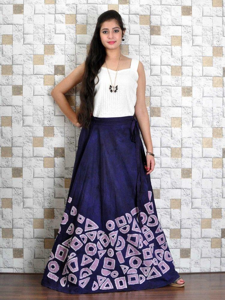 73014650b Indian Batik Wrap Skirt   Women's Skirts - Online Shopping in India    Kasturi-B