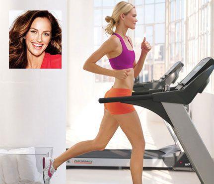 Minka Kelly's treadmill workout: 1 minute at 5.0, 1 minute at 5.5, 1 minute at 6.0, 1 minute at 6.5, 1 minute at 7.0, 1 minute at 7.5, 1 minute at 8.0, 2 minutes at 4.5 Repeat five times.